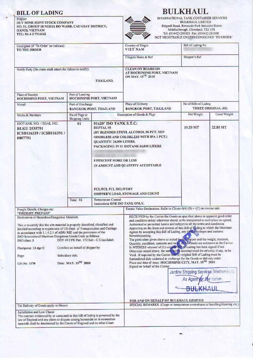 Document Samples Duyminhjsc The Leading Ethanol Exporter In Vietnam